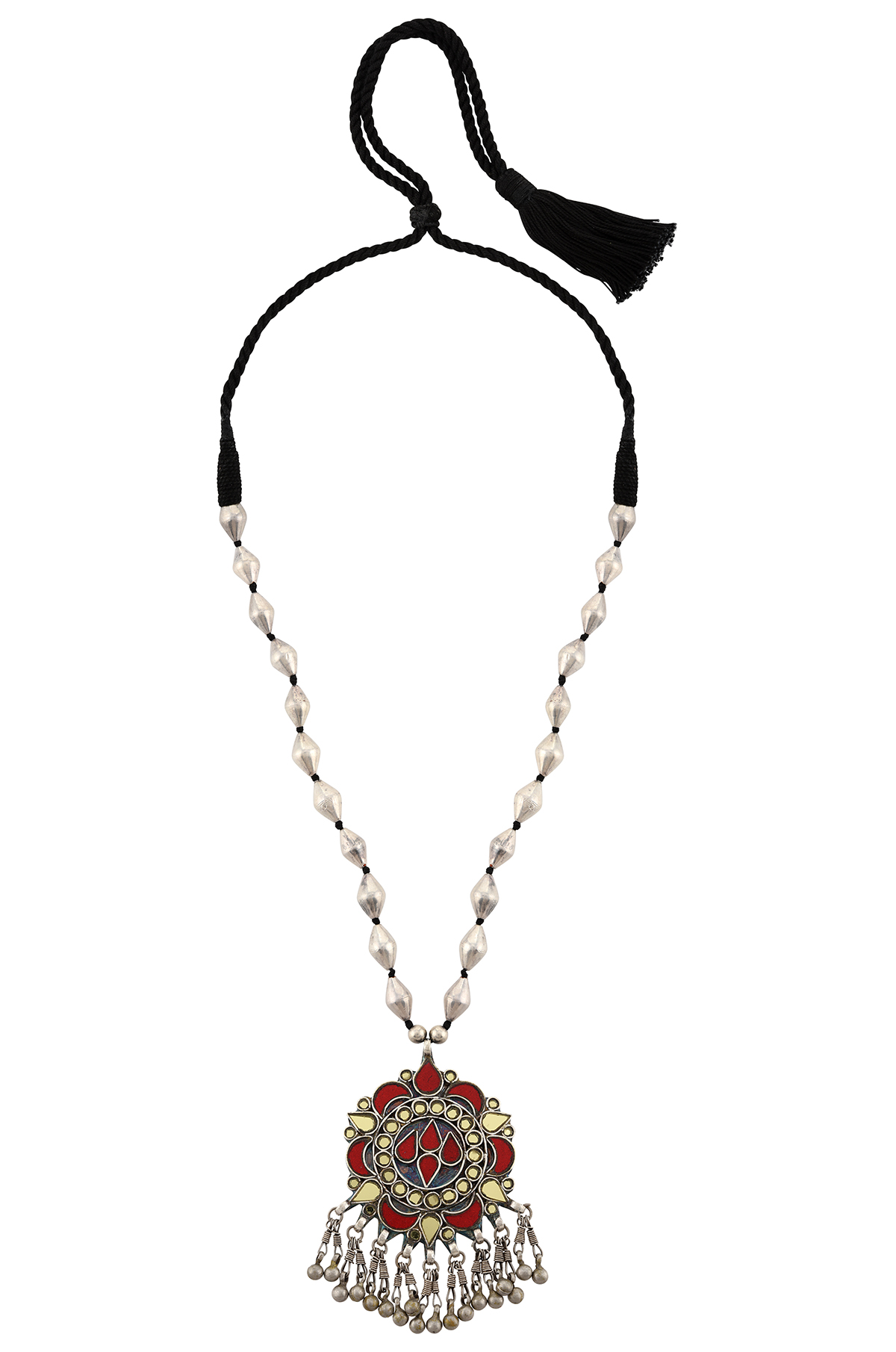 Silver Yellow Red Glass Flower Dholki Necklace