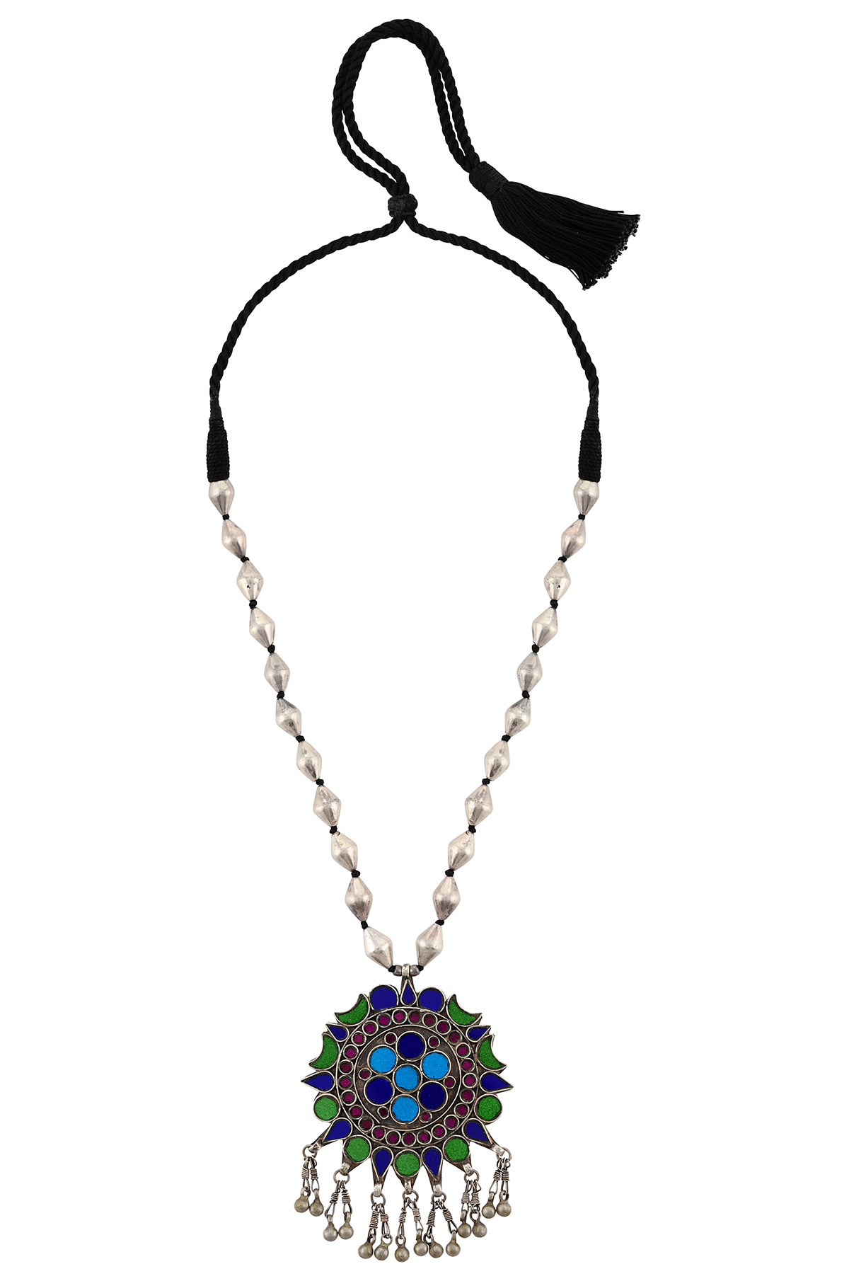Silver Colorful Moon Flower Dholki Necklace