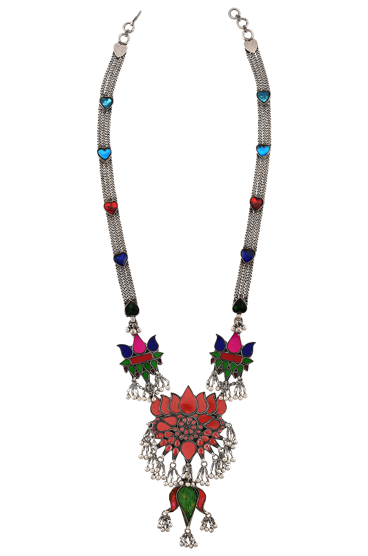 Silver Colorful Glass Lotus Necklace