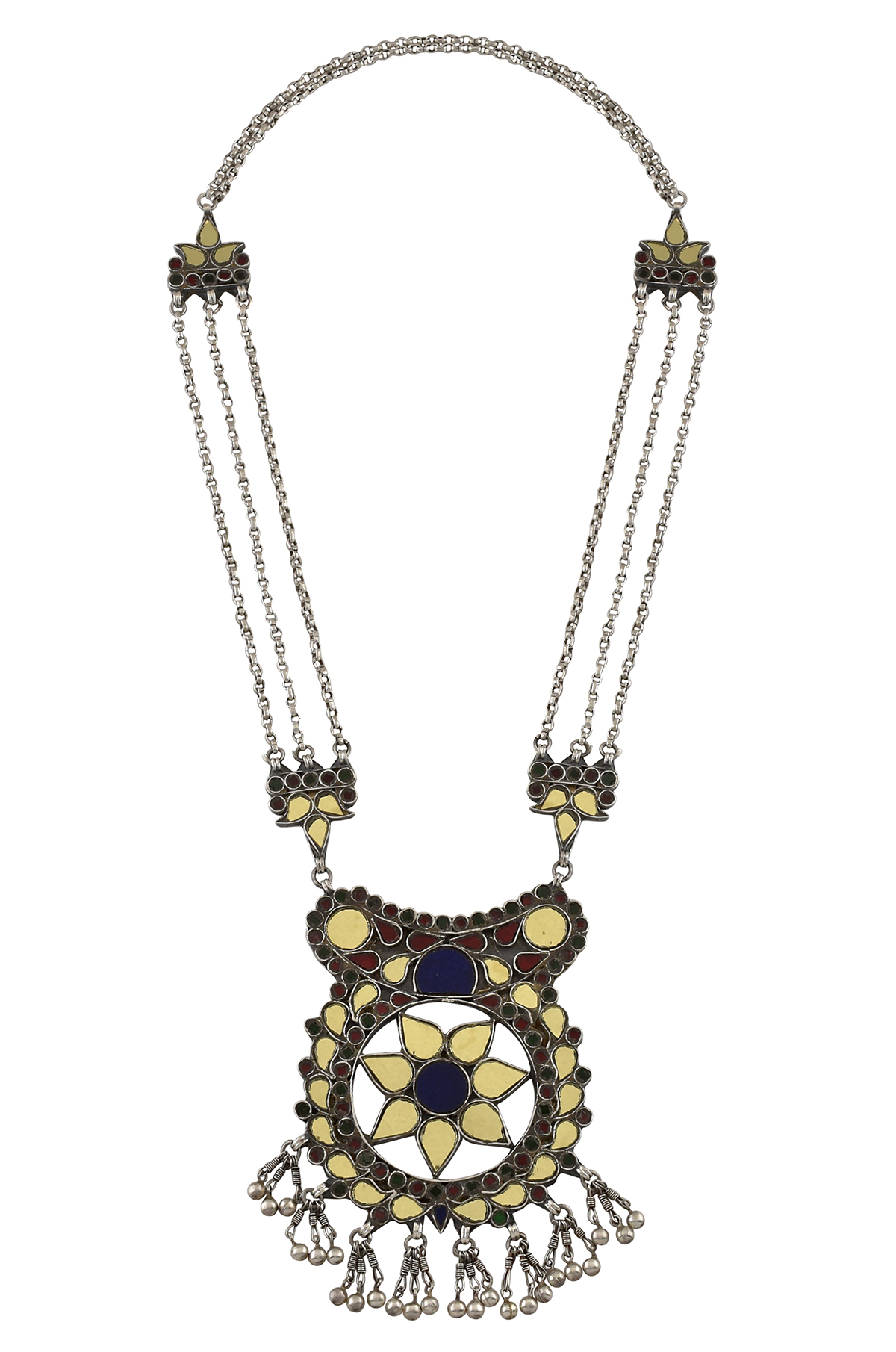 Silver Mirror Studded Bead Hanging Floral Necklace