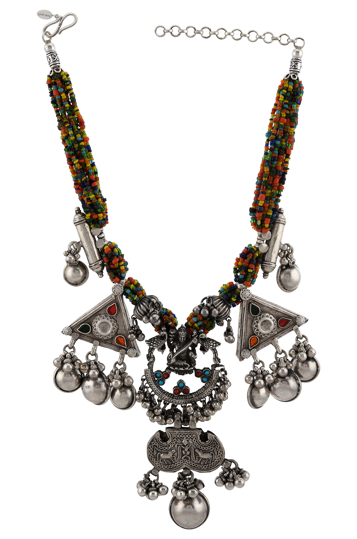 Silver Goddess Laxmi Colorful Bead Necklace