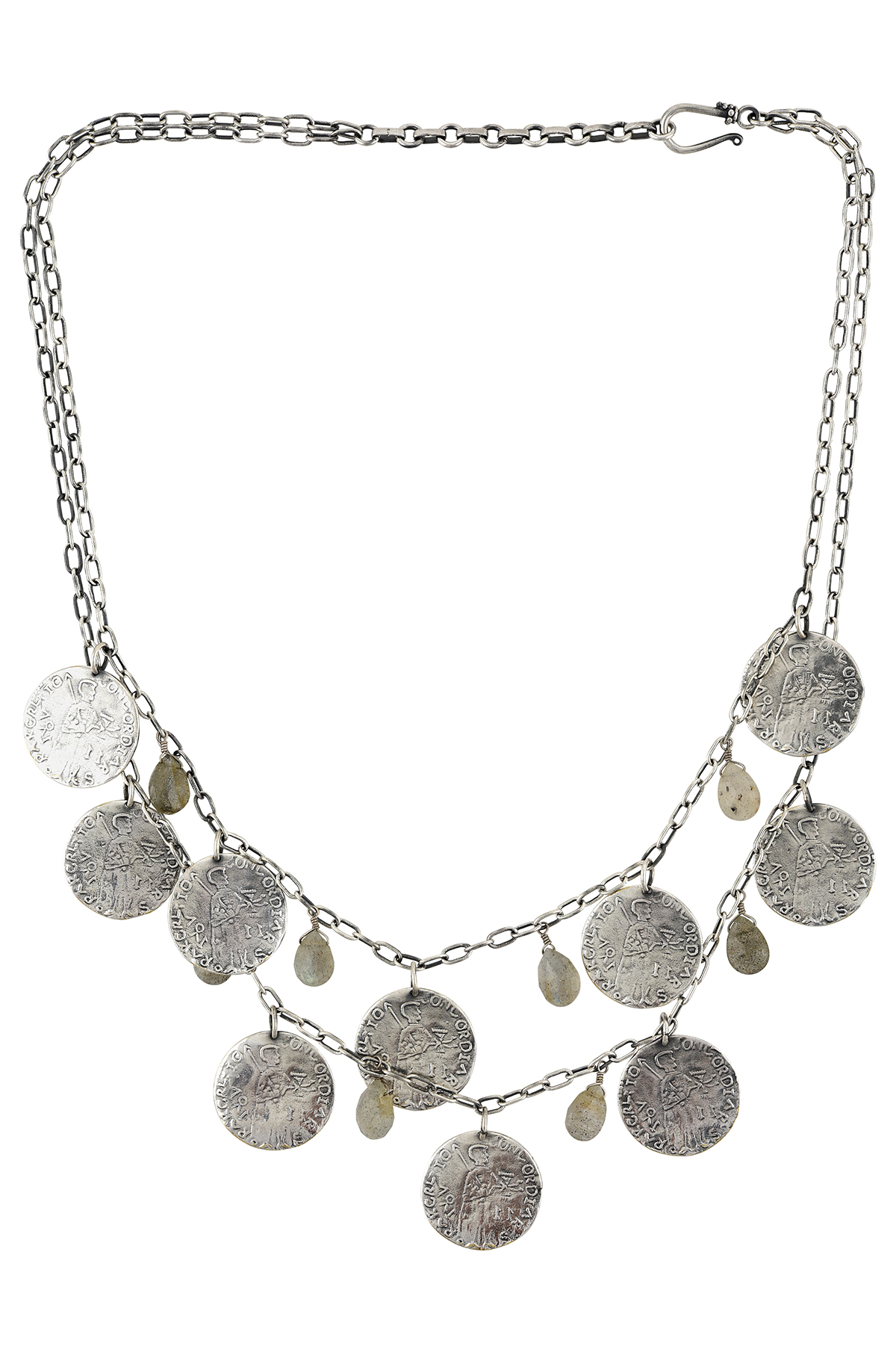 Labradorite Coin Double Layer Necklace