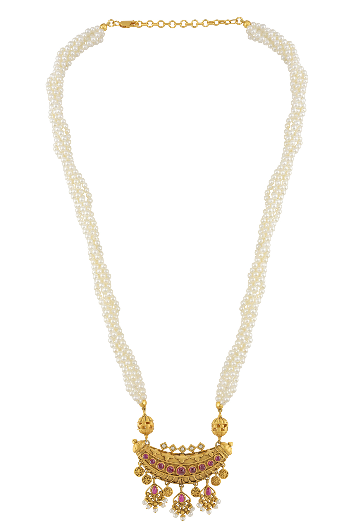 Silver Gold Plated Taveez Manikarnika Pearl Necklace