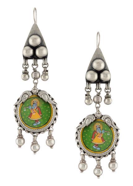 Silver Krishna Painting Tribal Banjara Earrings