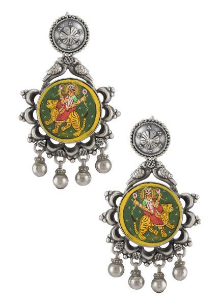 Silver Oxidised Goddess Durga Floral Bead Droplet Earrings