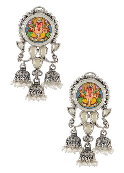 Silver Oxidised Vinayaka Glass Jhumki Droplet Tulika Earrings