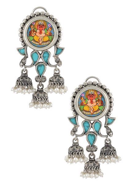 Silver Oxidised Vinayaka Turquoise Jhumki Tulika Earrings