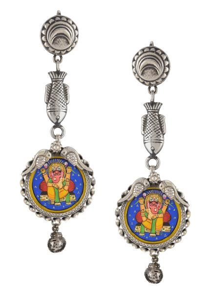 Silver Oxidised Ganpati Fish Crescent Motif Tulika Earrings
