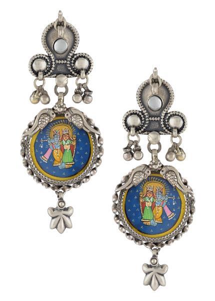 Silver Oxidised Radha Krishna Floral Tulika Earrings