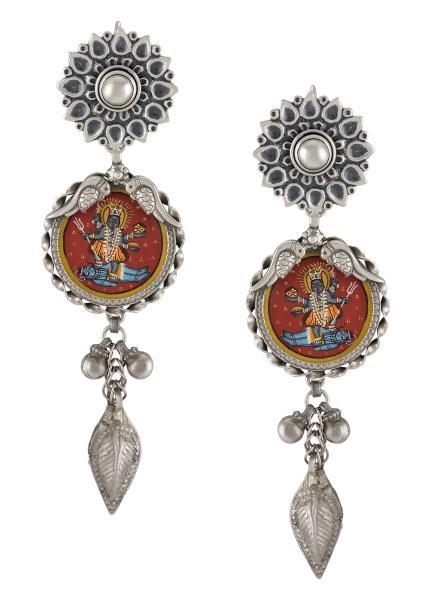 Silver Oxidised Flower Shiva Kali Tulika Earrings