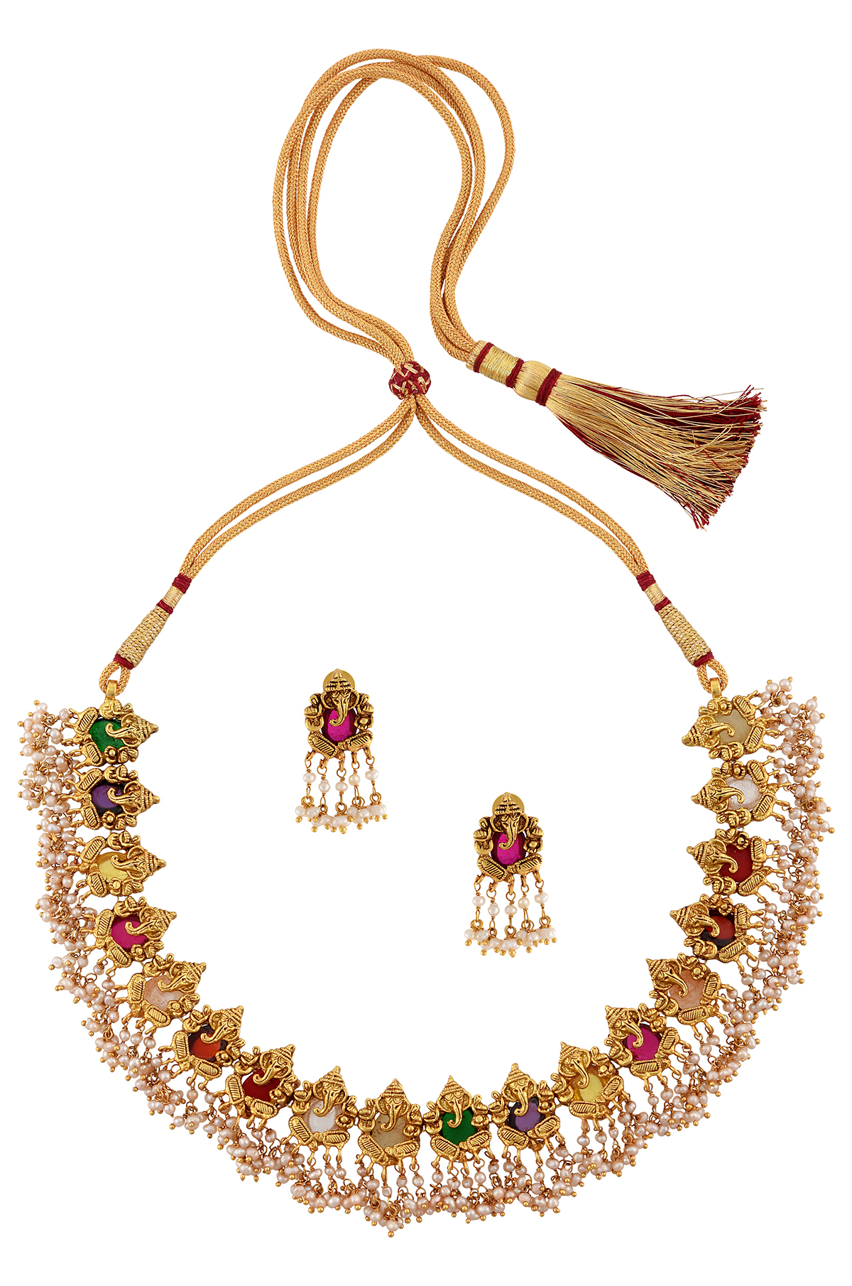 Silver Gold Plated Navratna Glass Pearl Necklace Earrings Set