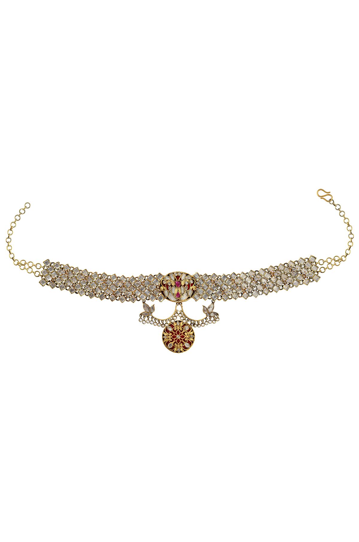Silver Gold Plated Atulya Lotus Peacock Interlinked Rhombus Choker