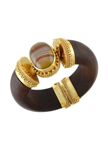 Gold Plated Wooden Agate Bangle