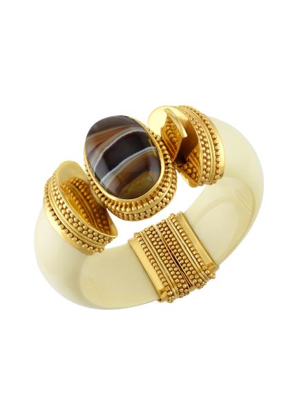 Gold Plated Glass Agate Bangle