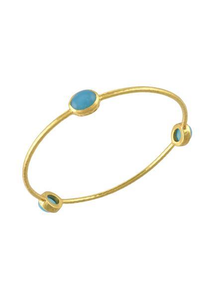 Gold Plated Oval Aqua Chalcedony Bangle