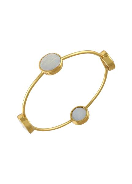 Gold Plated Round Pearl Bangle