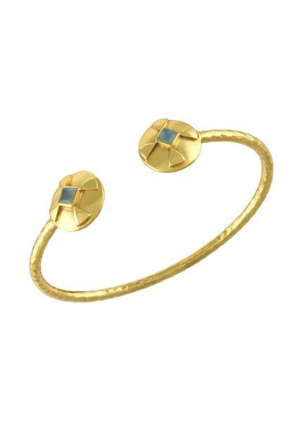Gold Plated Round Textured Aqua Bangle