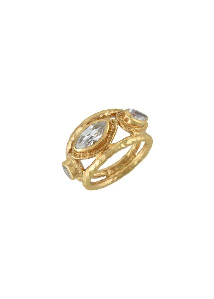 Gold Plated Marquise Round Zircon Ring