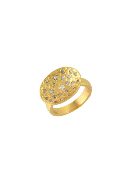 Gold Plated Zircon Bowl Textured Ring