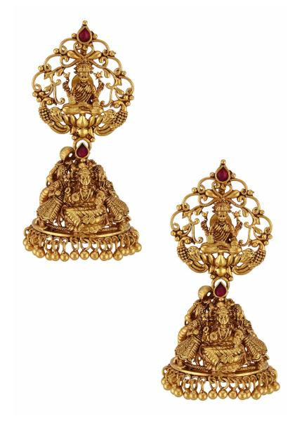 Goddess Laxmi Temple Jhumka Silver Earrings