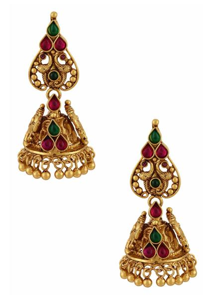 Gold Plated Silver Lord Ganesha Jhumki Earrings