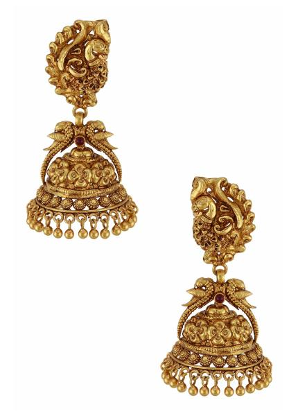 Gold Plated Silver Mayura Jhumka Earrings