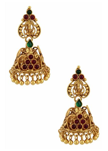 Lord Ganesha Mayura Jhumka Silver Earrings