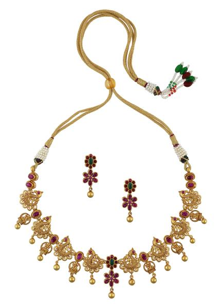 Gold Plated Silver Mayura Necklace Earrings Set
