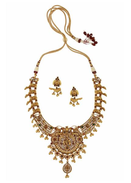 Gold Plated Silver Krishna Motif Necklace Earrings Set