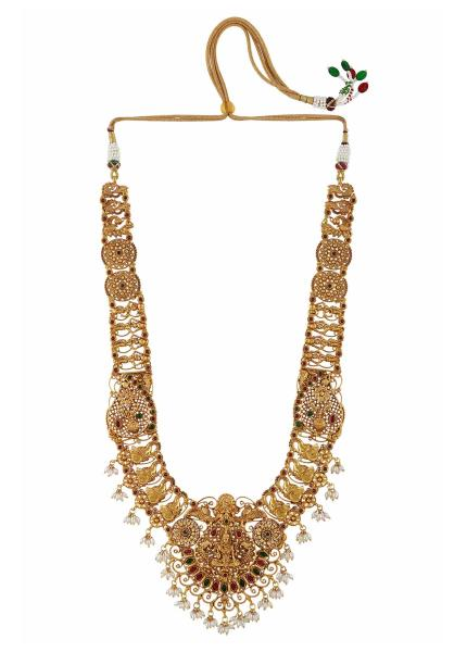 Gold Plated Silver Goddess Lakshmi Temple Necklace