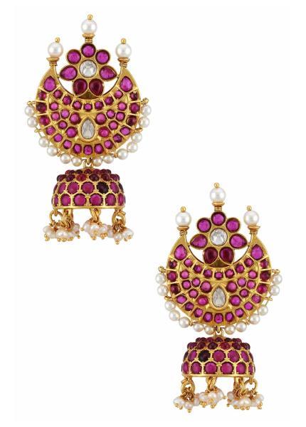 Gold Plated Silver Moon Flower Pink Glass Jhumki Earrings
