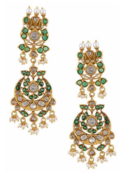 Gold Plated Silver Peacock Green Lotus Moon Chandbali Earrings