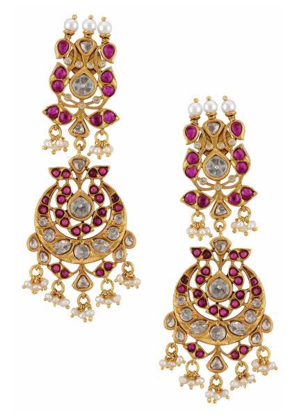 Gold Plated Silver Peacock Pink Lotus Moon Chandbali Earrings