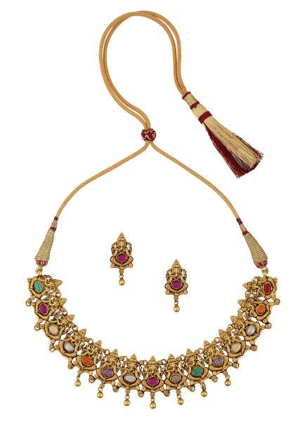 Gold Plated Silver Navratna Vinayaka Necklace Earrings Set