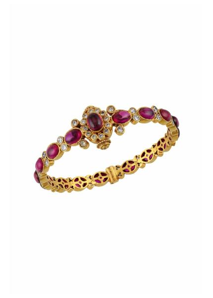 Gold Plated Silver Pink White Glass Silver Temple Kada
