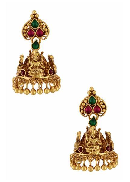 Gold Plated Silver Goddess Lakshmi Mayura Jhumka Earrings