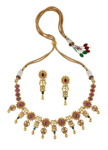 Gold Plated Silver Goddess Lakshmi Necklace Earrings Set