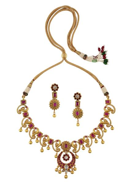Gold Plated Silver Peacock Motif Necklace Earrings Set