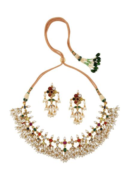 Gold Plated Silver Colourful Kimaya Necklace Earrings Set