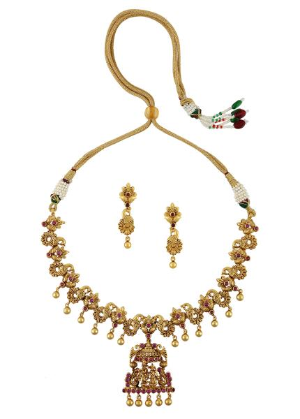 Gold Plated Silver Radha Krishna Temple Necklace
