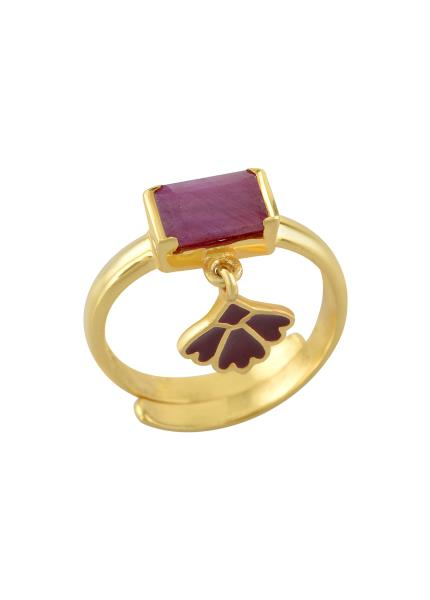 Silver Gold Plated Dyed Ruby Ring