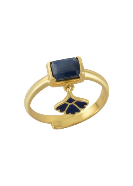 Silver Gold Plated Dyed Blue Sapphire Ring